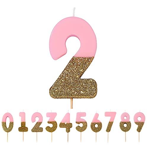Talking Tables Bday-Candle-2 Decorazione per Torta con 2 Candele di Compleanno, Cera, Glitter Oro e Rosa