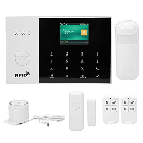 Sistema de alarma inteligente WIFI + GSM + GPRS Sistema de alarma TFT de 2,4 pulgadas Detector antirrobo con botón SOS Puerta Ventana Sensor Detector de movimiento para vigilancia del hogar (UE)