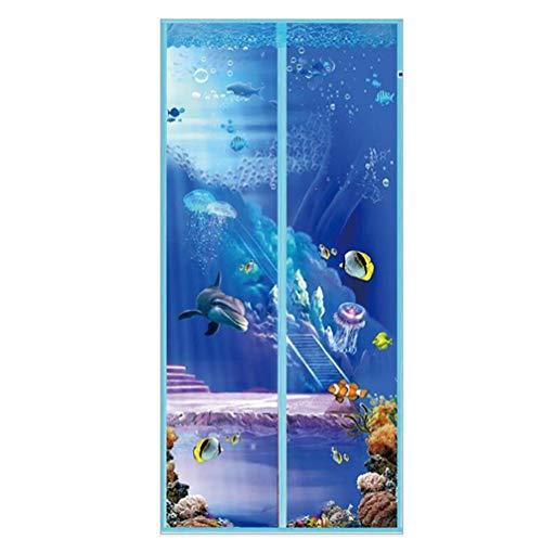 Cortina mosquitera para puerta con mosquitera para mantener fuera las moscas y cerrar automáticamente la cortina de la puerta, malla, 90x210cm