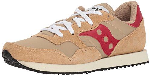 Saucony Men's DXN Trainer Vintage Running Shoe, tan/red, 8 Medium US