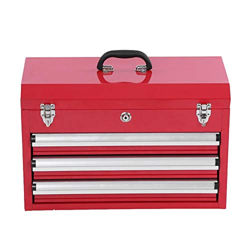 Werkzeugkoffer, 3 Etagen, professioneller tragbarer Aufbewahrungsschrank Werkstattschrank abschließbar Werkzeugkiste mit Tragegriffen, Rot