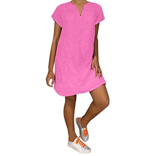 Lazzboy Damenmode Lose Freizeit V-kragen Kurzarm Damen Leinenkleid Sommer V-ausschnitt Kleid Boho Sommerkleid Leinen Kleider Strandkleider A-linie(Rosa,2XL)