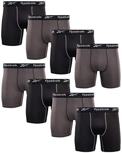 Reebok Men s Underwear - Performance Boxer Briefs (8 Pack), Size Large, Black Magnet