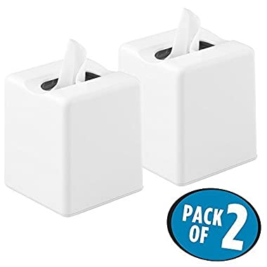 mDesign Square Facial Tissue Box Cover Holder for Bathroom Vanity Counter Tops, Bedroom Dressers, Night Stands, Desks and Tables - Pack of 2, White