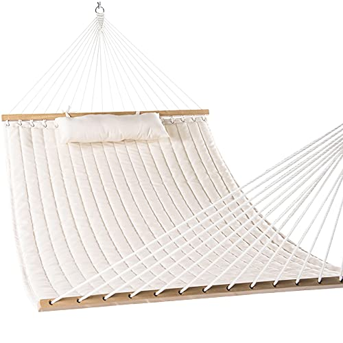 Lazy Daze 12 FT Double Quilted Fabric Hammock with Spreader Bars and Detachable Pillow, 2 Person...