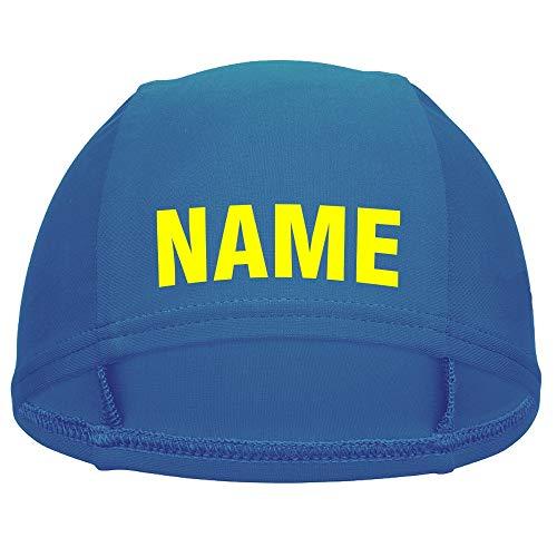 Nashville print factory Kinder Badekappe blau mit Namen Bedruckt | Turnbeutel Druck mit Name | Handtuch mit Wunschnamen Bestickt | Badehaube Schwimmhaube | Schwimmverein (Badekappe mit Name)