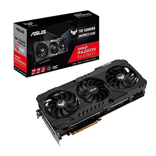 amd graphic cards ASUS TUF Gaming AMD Radeon RX 6700 XT OC Edition Graphics Card AMD RDNA 2, PCIe 4.0, 12GB GDDR6, HDMI 2.1, DisplayPort 1.4a, Dual ball fan bearings, all-aluminum shroud, reinforced frame, GPU Tweak II