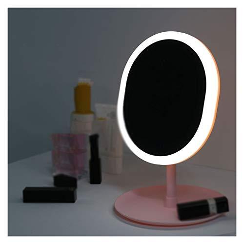 SSBH Espejo de maquillaje con luz LED, espejo de almacenamiento para la cara, regulable, con regulador de intensidad táctil, USB y LED, para escritorio, espejo cosmético (color: ovalado)
