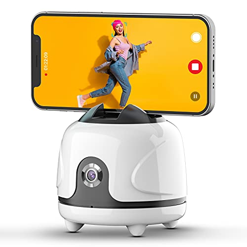 ULANZI Auto Tracking Phone Holder, with Smart Motion Sensor AI Camera, No App, 360 Degree Rotation Face Tracking Phone Stand, for Vlogging, Live Stream, Tiktok