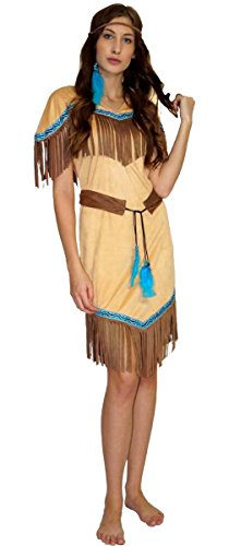MAYLYNN 16617 - Kostüm Indianerin Indianerkostüm Squaw Damen 3-teilig: Kleid, Gürtel, Stirnband, Größe:M