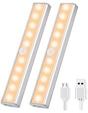 OUSFOT Luz Armario con Sensor de Movimiento Luz Sensor para Armario USB Recargable LED Armario con 2 Tiras Magnéticas pegadas Lámpara Nocturna Ideal para Amario Garaje Gabinete Escalera(2 pack)