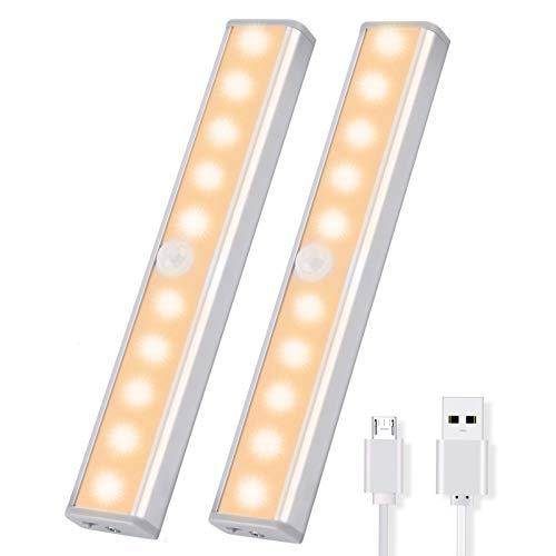 OUSFOT Schrankleuchten mit Bewegungsmelder Schrankbeleuchtungen LED Kabellos Kleiderschrank mit 4 Magnetstreifen Schranklicht Warmweiß 2PC Verpackung MEHRWEG