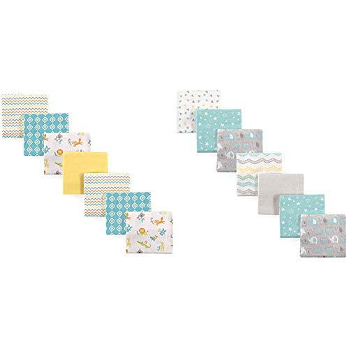 Luvable Friends Cotton Flannel Receiving Blankets, ABC and Basic Elephant