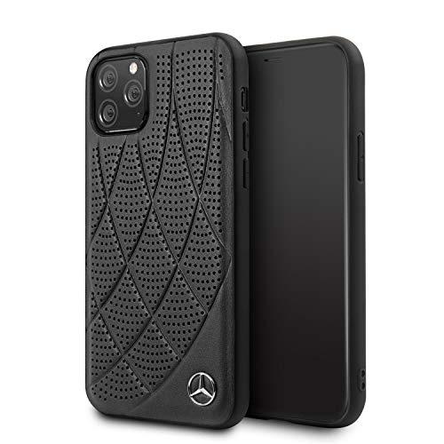 Mercedes-Benz Handyhülle für iPhone 11 Pro Hardcase Echtleder gesteppt perforiert Design schwarz | leicht zugängliche Anschlüsse | Fallschutz Tasche | Offizielles Lizenzprodukt