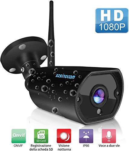 SZSINOCAM Cámara de Vigilancia WiFi Exterior/Interior 1080P, Cámara Seguridad con Visión Nocturna,Audio Bidireccional,Detección de Movimiento, Notificación de Alarma,Android/iOS App