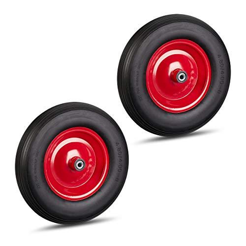 Relaxdays 2 x Schubkarrenrad 4.80 4.00-8, Vollgummirad & Stahlfelge, je 3 Adapter, Ersatzrad pannensicher, 100 kg, schwarz-rot