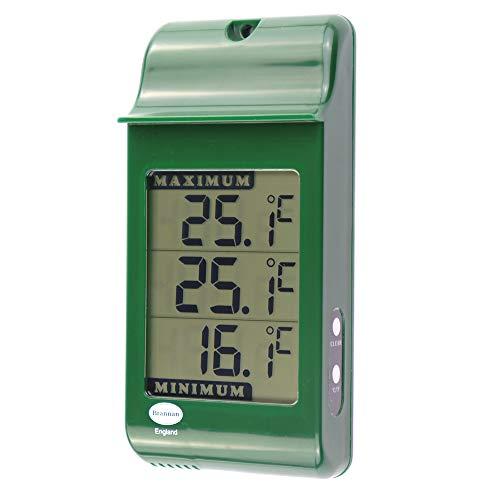 Digitales Max Min Gewächshausthermometer – Zur Erfassung der Höchst- und Mindesttemperaturen für den Einsatz im Gartengewächshaus oder zu Hause im Gewächshaus im Freien Zubehör für einfache Wandmontage