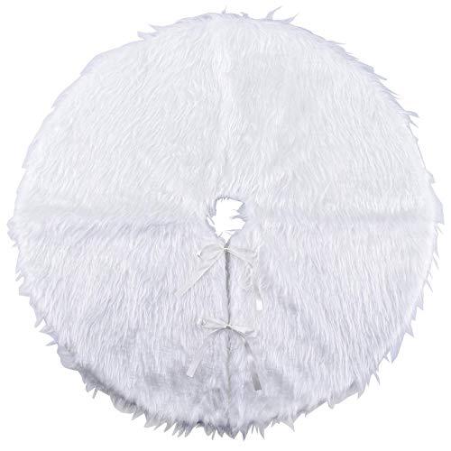 Geboor White Christmas Tree Plush Skirt Base Floor Mat Cover Xmas Decor Merry Christmas Party Decor 31 Inch(78CM)