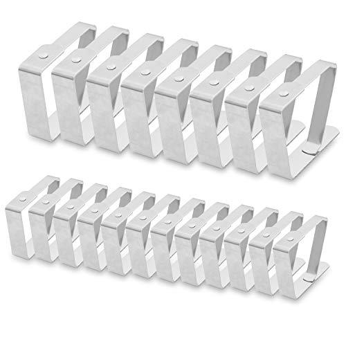 BELLE VOUS Tischdeckenklammer (20er Set), 12 kleine Tischdeckenhalter (4.5cm x 4cm), 8 große Tischtuchhalter (7cm x 8cm) Verstellbare Edelstahl Tischtuchklammer für Restaurant, Gartentisch - Silber