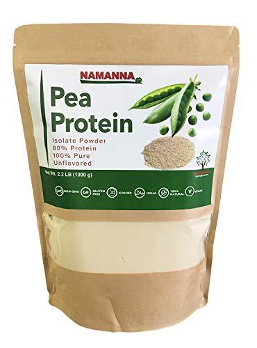NAMANNA Pea Protein Powder (80% Protein) – 2.2 lb, Non-GMO, Vegan, Kosher, Halal, Gluten Free, Dairy Free, Soy Free, Hypoallergenic, 100% Pure, Unflavored, Plant Based Protein, Keto Friendly