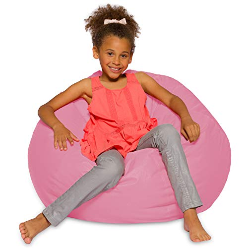 Posh Creations Bean Bag Chair for Kids, Teens, and Adults Includes Removable and Machine Washable Cover, 38in - Large, Solid Pink