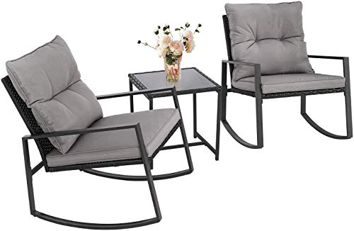 SOLAURA Outdoor 3- Piece Rocking Bistro Set Black Wicker with Soft Cushions & Glass Coffee Table for Patio, Garden, Backyards and Pools (Gray Cushions)