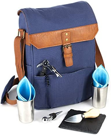 WINE CARRIER 2 Bottle TOTE BAG with Stainless Steel Wine Glasses Stylish Leather 9 Pcs Travel product image