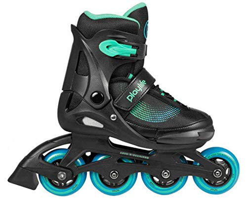 Playlife Joker Blue Sky verstellbare Inline Skates Kinder schwarz Black-Blue-Green, 28-31