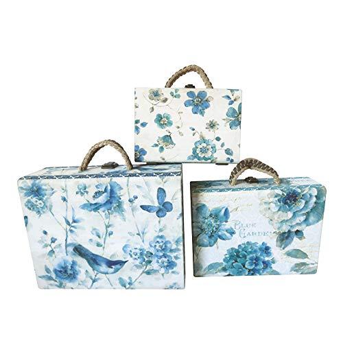 Set di 3 valigie in legno shabby chic a tema giardino farfalle fiori