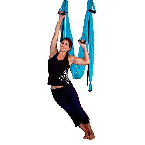 AGPTEK Deluxe Aerial Yoga Inversion Sling Hammock for Aerial Yoga, Flying Antigravity-Blue