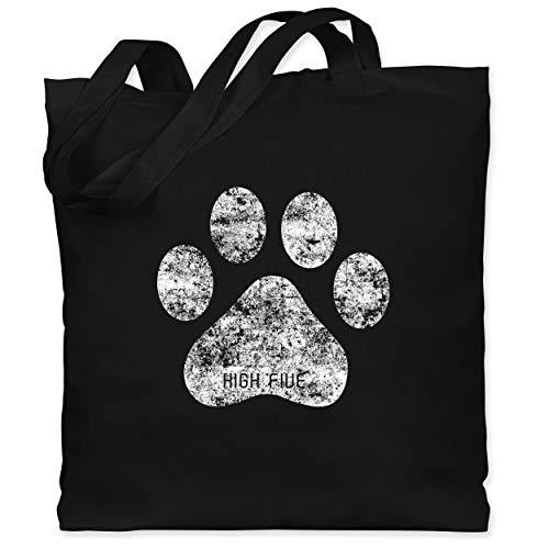 Shirtracer Geschenk für Hundebesitzer - High Five Hunde Pfote - Unisize - Schwarz - jutebeutel hund - WM101 - Stoffbeutel aus Baumwolle Jutebeutel lange Henkel