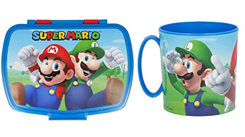 Familienkalender 2er Set, BPA frei, Brotdose + Tasse, kompatibel zu Super Mario | Schule | Kita | Lunchbox | Pausenbox | Becher |