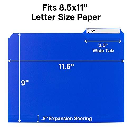 Dunwell Plastic Blue File Folders - (12 Pack of Folders), 3 Tab Folders Plus Removable Labels, Letter Size, Plastic File Folders Colored, 1/3-Cut Tabs, Poly Folders, More Durable Than Manila Folders Photo #3