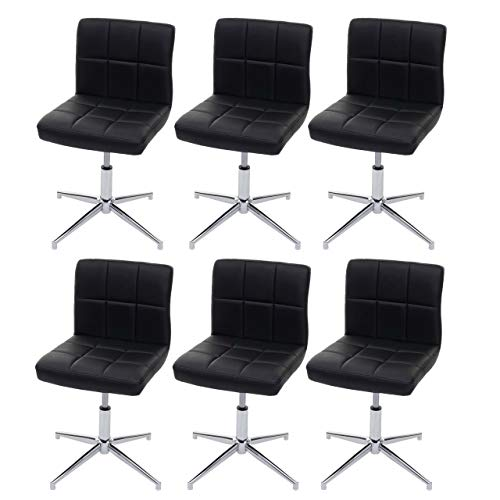 Mendler 6X Esszimmerstuhl Kavala II, Stuhl Küchenstuhl, höhenverstellbar Drehmechanismus - Kunstleder schwarz, Chromfuß