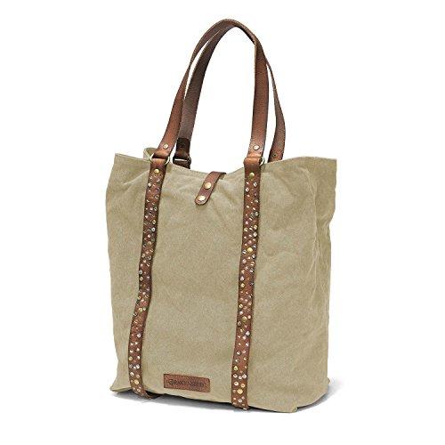 DRAKENSBERG Kimberley Tote Shopper, borsetta, borsa da donna, borsa shopping, shopping bag da donna, borsa con rivetti, tela, canvas, pelle, vintage, lussuosamente, sabbia, marrone
