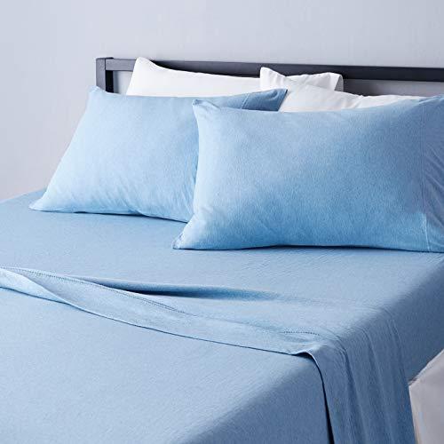 AmazonBasics - Juego de sábanas Jaspeado de Punto - Cama Doble, Azul, Matrimonio Doble