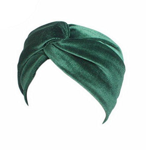 COMVIP 22 * 9cm Bandeau Bande Cheveux Femme Croisé Sport Turban Velours Coton Uni Mode Vert