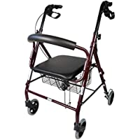 Mobiclinic, Modelo Escorial, Andador para minusvalidos, ancianos, mayores o adultos, de aluminio, ligero, plegable, con asiento y 4 ruedas. Color Burdeos