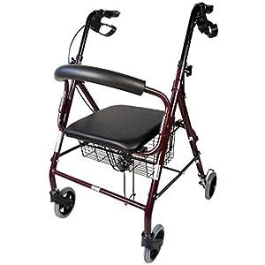 Mobiclinic, Deambulatore per anziani, Escorial, Marchio Europeo, Alluminio, Marcatura CE, Leggero, Pieghevole, Con seduta e 4 ruote, Per adulti e/o disabili, colore Bordò