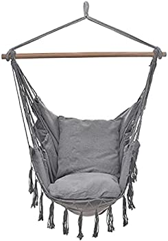 Project One Hanging Rope Hammock Chair with 2 Pillows