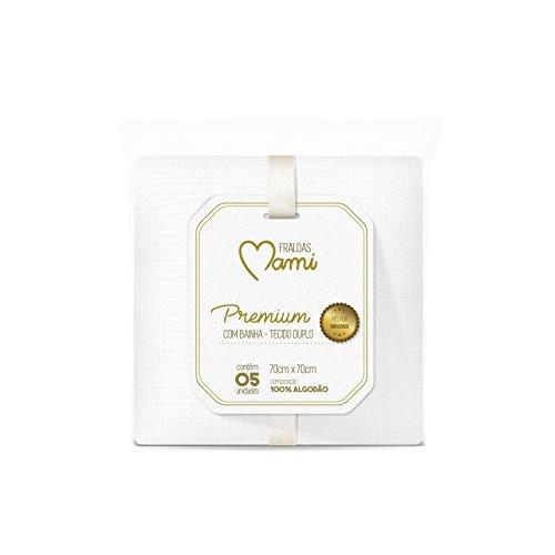 Papi Textil Fralda Premium Mami Branca com Bainha, Rosa, 70cmx70cm, pacote de 5