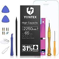 YONTEX 2250mAh Batería iPhone 6S de alta capacidad, Batería iPhone 6S con 31% más de Capacidad Que la batería Original y con Kits de Herramientas de reparación, Cinta Adhesiva, Protector de Pantalla