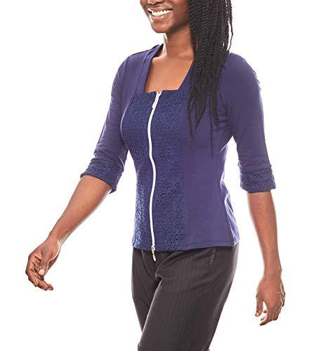 Patrizia DINI Pullover figurbetonte Bluse Damen Shirtbluse mit Spitze Shirt Blau, Größenauswahl:36