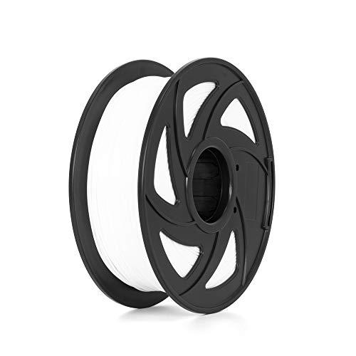 Filamento per stampante 3D in nylon, precisione di +/-0,05 mm, bobina da 1 kg, 1,75 mm, colore bianco, filo avvolgente senza grovigli.
