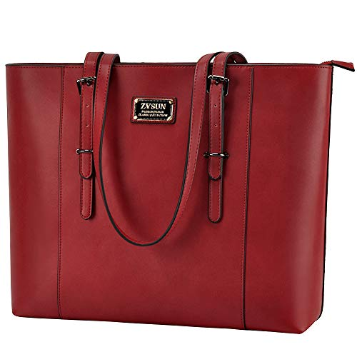 ZYSUN Laptop Tote Bag Fits Up to 15.6 IN Awesome Gifts for Women (Red)