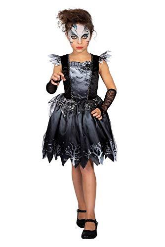 Halloween Kinder-Kostüm Spinnen-Königin mit Gummi-Spinne für Mädchen Spinnennetz Glitzer Prinzessin Samt-Kleid, Kindergröße:128/140