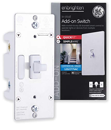 GE 46200 Enbrighten AddOn Z-Wave & Zigbee Smart Lighting Control, QuickFit and SimpleWire, Works with Alexa, Google Assistant, 2nd Gen. NOT A STANDALONE SWITCH Toggle, White 1-pack