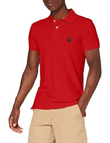 United Colors of Benetton Herren Polo Slim Manica Corta Poloshirt, Rot (Rosso 015), X-Large