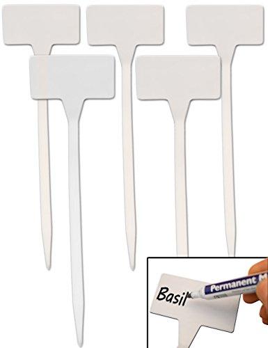 HomeTools.eu® - 5 Stück Pflanz-Schilder, Steck-Etiketten Pflanzen-Stecker, Kunststoff beschreibbar verwitterungsfest, 30cm Weiss
