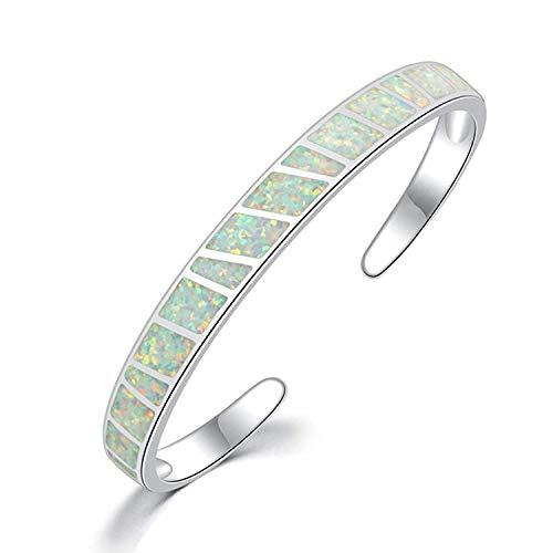 CiNily Womens Cuff Bracelet,Opal Bangle Bracelets Gold Plated Hypoallergenic Birthstone...